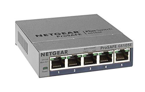 Netgear GS105E 5-Port Gigabit Ethernet LAN Switch Smart Managed Plus (für Desktop mit ProSAFE Lifetime-Garantie) grau