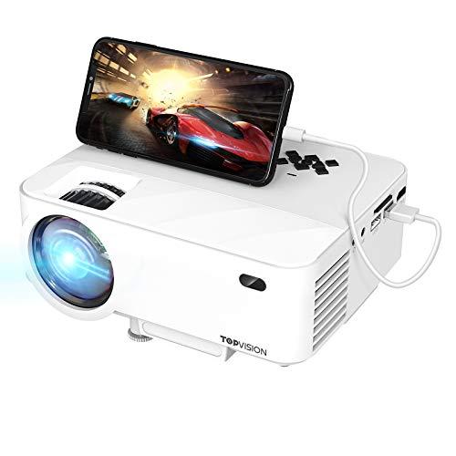 TOPVISION Mini Proiettore con Clonazione Schermo,6000 Lumen Proiettore Portatile,Video Proiettore Full HD 1080P con Display da 240', Proiettore LCD per 90000 ore,Compatibile con HDMI/AV/USB/SD/VGA