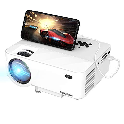 TOPVISION Mini Beamer mit Screen Mirroring,5500 Lumen Heimkino Beamer Full HD 1080P Video Beamer mit 240' Display, 90000 Stunden LCD Beamer kompatibel mit HDMI/USB/SD/AV/VGA