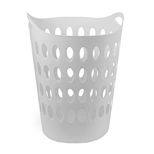 DRULINE Wäschekorb Wäschetruhe Kunststoff 50 L Wäschesammler Wäschebox Rund Weiß