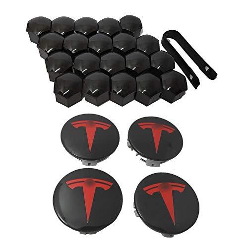 Goodtimera Kit De Tapa De Rueda Aero para Tesla Model X S Kit De Bujes De 3 Ruedas (Tapa Central De 4 Bujes + Tapa De Tuerca De Oreja 20)