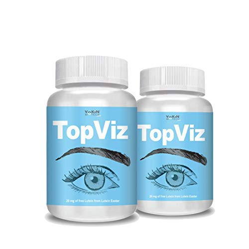 Vokin Biotech TopViz   Natural Eye Care Supplement & Vision Support   Combination of Lutein, Vitamin A, Vitamin E, Vitamin B2, Zinc & Copper - 60 Vegetarian Tablets (Pack of 2)