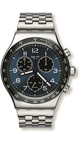 Swatch Herren Analog Quarz Uhr mit Edelstahl Armband YVS423G