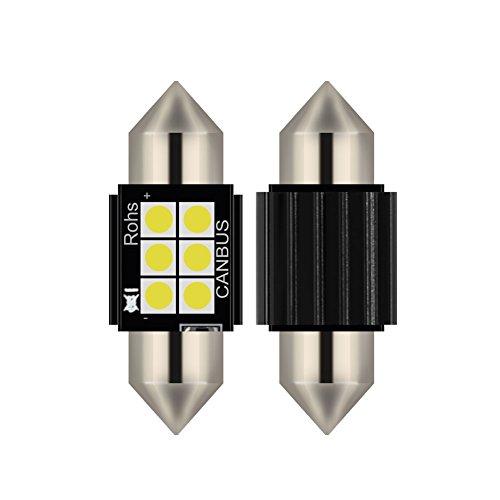 2pcs lampada a siluro FESTOON C5W 31MM LED bianco puro Canbus SMD Luce targa DC 12V (31MM)