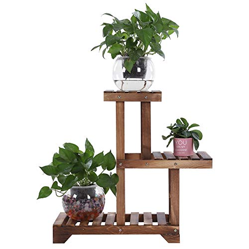 3 Tier Carbonized Wooden Plant Stand