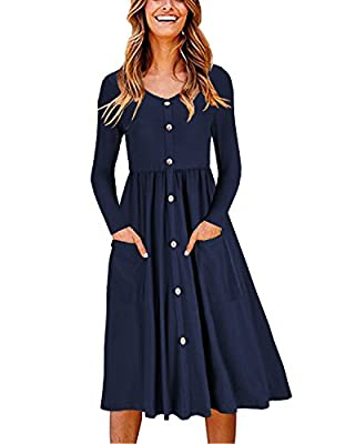 Soft light and breatable fabric which makes this button down dress comfortable and feminine to wear. Style:Casual, Sexy, V-Neck, Button Down Dress, A Line, Button Dress With Pockets, and buttons are decoration only, not functional. Great with Cardiga...