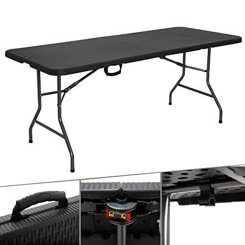 Arebos tavolo da buffet | pieghevole | 180 x 75 x 74 cm | effetto rattan | 6 persone | incluso Maniglia per il trasporto