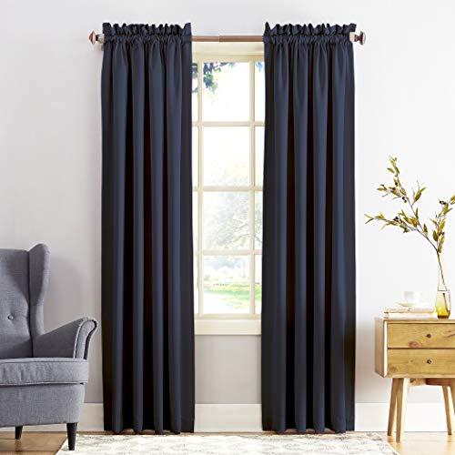 Sun Zero Barrow Panel de cortina de bolsillo para barra de eficiencia energética, Marino, 1.37 m x 2.41 m