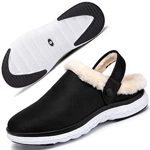 Zuecos y Mules para Mujer Hombre Forro Caliente Zapatillas de Estar Pantuflas de jardín Chanclas Zapatilla Invierno Blanco Negro 38