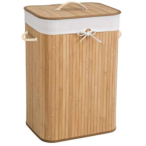 TecTake Robuster Bambus Wäschekorb faltbar mit Deckel und herausnehmbarem Wäschesack - Diverse Modelle - (72L Natural | Nr. 401836)