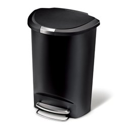 simplehuman 13 Gallon Semi-Round Kitchen Step Trash Can With Secure Slide Lock