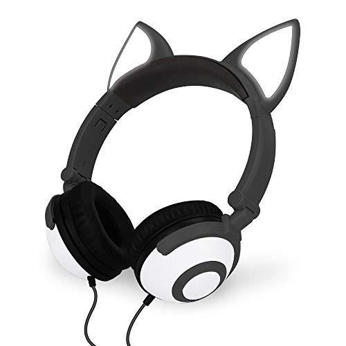 Fone de ouvido com orelhinhas de gato com iluminação led pisca cosplay design fox p2 preto