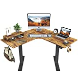 FEZIBO L-Shaped Electric Standing Desk, 48 Inches Height Adjustable Corner Desk, Full Sit Stand Home Office Table with Splice Board, Black Frame/Rustic Brown Top