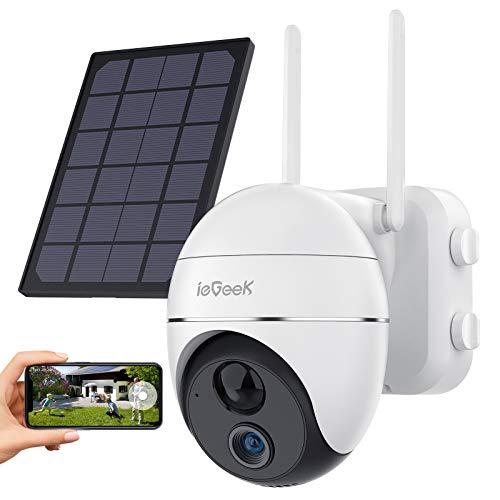 1080P PTZ Telecamera WiFi Esterno con Batteria 15000mAh Senza Fili, ieGeek Telecamera Pannello Solare con Panoramica / Inclinazione a 360°,Rilevamento del Movimento, Visione Notturna,Impermeabile IP65