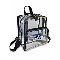 "Reverse printed NFL logo Large main zippered compartment; outer zipper pocket; woven top carrying handle; stadium approved Measures 9""H x 7.5""W with 3.25"" gusset Spot clean only Made of PVC construction"