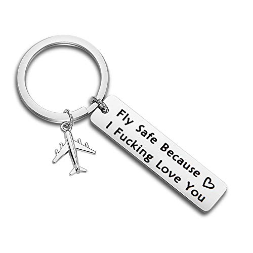 MAOFAED Fly Safe Keychain Pilot Gift Fly Safe Because i...