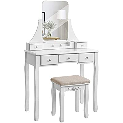 Cheap Vasagle Modern Dressing Table With Frameless Mirror Removable Organiser Rubber Wood Stool 5 Drawers For Bedroom Dressing Room White Rdt25wt Price Comparison For Vasagle Modern Dressing Table With Frameless