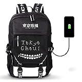 WOONN Anime Tokyo Ghoul USB Mochila para Adolescentes Mochila para Estudiantes Mochila para niños Mochila para maletín Mochila para computadora portátil Suministros para Estudiantes