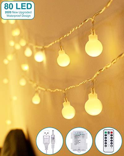 Lichterkette Kugeln, Kolpop 80er LED Lichterketten Batterie 8 Modus Lichterkette USB Strombetrieben Lichterkette mit Fernbedienung Wasserdicht Beleuchtung für Zimmer/Hochzeit/Party/Außen/Innen Decor