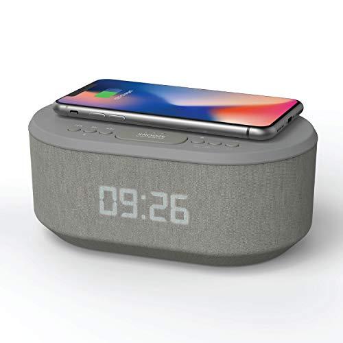 Radiowecker Digital mit USB-Ladegerät, Bluetooth-Lautsprecher, kabelloses Laden und dimmbares LED-Display – Netzbetrieb (Grau)