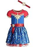 Captain Marvel Toddler Girls Short Sleeve Costume Dress & Headband 4T