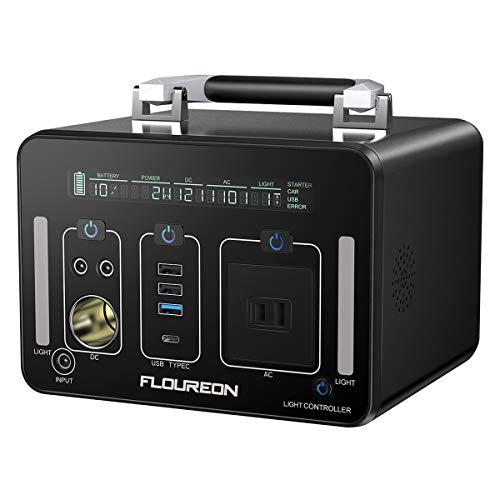 FLOUREON ポータブル電源 大容量 500Wh/140400mAh 家庭用蓄電池 純正弦波 液晶大画面表示 LEDライト付き ...
