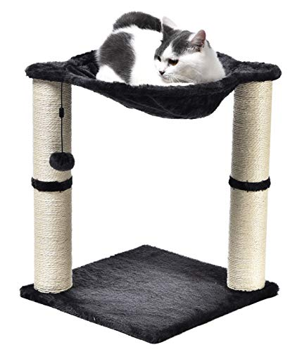 AmazonBasics Cat Condo Tree Tower With Hammock Bed And Scratching Post, 16 x 20 x 16 Inches, Grey