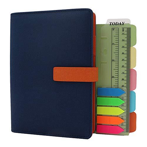 TSY - Agenda recargable, diarios y cuadernos, organizador personal ejecutivo para hombres y mujeres, carpeta de 6 agujeros con anillas con papel forrado, soporte para bolígrafos, color azul marino, A6
