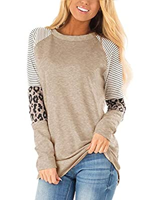 & Material: Cotton/Polyester/Spandex.Good Elasticity, Soft and Comfortable. & Feature: Long Sleeve,Color Block,Round Neck,Leopard Print,stripe tunic. & The tunic tops is Perfect to Pair with your favorite jeans or leggings. & Seasons: Fall, Winter, S...