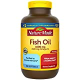 Nature Made Fish Oil 1000 mg, 250 Softgels Value Size, Fish Oil Omega 3 Supplement For Heart Health