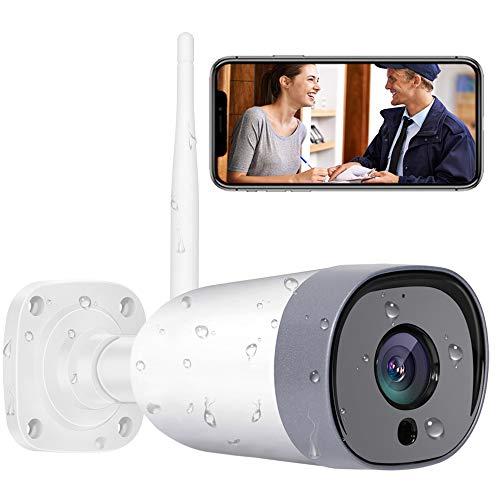 Mibao FHD 1080P Telecamera IP esterna, Telecamera di Sicurezza con Rilevazione Movimento Telecamera WiFi con IP66 Visione Notturna Impermeabile, audio a due vie, Compatibile con IOS/Android/PC.