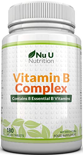 Vitamine B Complex | 8 vitamines par comprimé | Vitamines B1/B2/B3/B5/B6/B12/D-biotine/acide folique | cure de 6 mois/180 comprimés | Compléments alimentaires de Nu U Nutrition