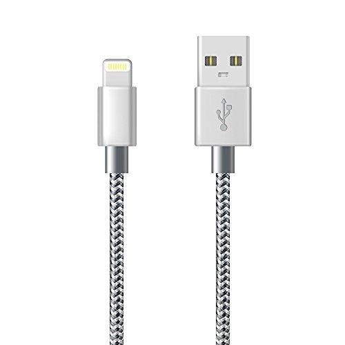 Cavo iPhone, Cavo Lightning Caricabatteriedi iPhone Nylon Intrecciato Cord per iPhone X/XS/XS Max/XR/8/8 Plus/7/7 Plus/6s/6s Plus/6/6 Plus/5c/5s/5, iPad(1M/3FT, Grigio)