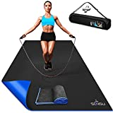Sensu Large Exercise Mat – 6' x 4' x 8.5mm Extra Thick Workout Mats for Home Gym Flooring - Perfect for Jump Rope, Weights, Cardio and Fitness– Durable High Density Non-Slip Workout Mat- Shoe Friendly