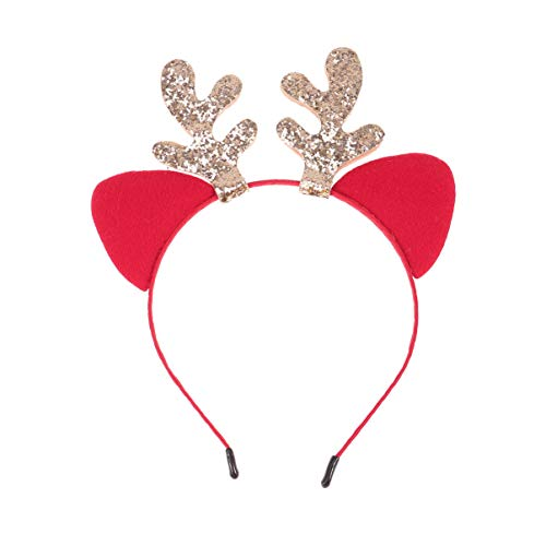 Amosfun tiara de rena com chifres, orelha de gato de natal, faixa de cabelo para crianças, acessórios de cabelo de natal, lembranças de festa