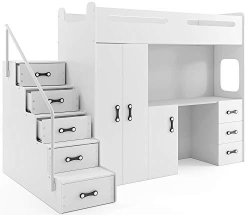 Interbeds Hochbett MAX 4 Größe 200x80cm mit Schrank und Schreibtisch, Farbe zur Wahl inkl. Matratze (weiß)