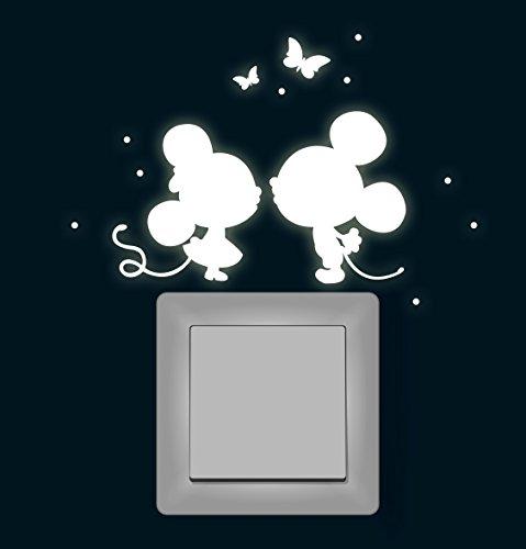 ilka parey wandtattoo-welt® Wandtattoo Lichtschalteraufkleber Lichtschaltersticker Leuchtsticker Maus Mäuse mit Schmetterlinge und Punkten fluoreszierend nachtleuchtend Wandsticker Wandaufkleber M1368