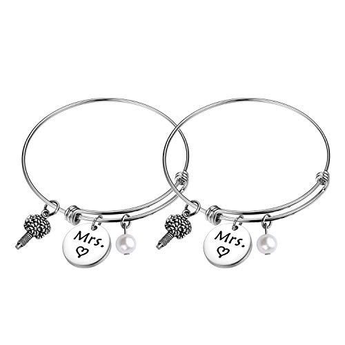 FEELMEM Mrs and Mrs Lesbian Couples Wire Bangle Bracelet Set...