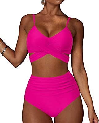 The unique bandage wrap design: front cross tie knot at back, knotted at the front or tie knot follow your heart. So this high waist two-piece swimsuit could cute, vintage, stylish. Sexy criss cross bikini top: adjustable shoulder straps for push up;...