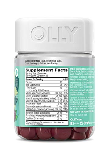 OLLY Flawless Complexion Gummy, 25 Day Supply (50 Count), Berry Fresh, Vitamins E, A, Zinc, Chewable Supplement 10