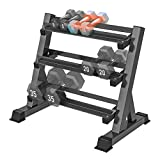 Yoleo 3 Tier Dumbbell Rack Stand Only for Home Gym, Adjustable Width Weight Rack for Dumbbells of Different Sizes (2021 Version)