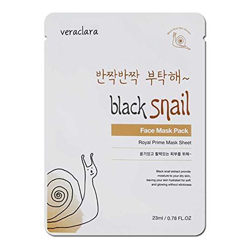 [Veraclara] Prime Facial Mask - Black Snail (16 Pack) Korean Skincare | Lighten, Moisturize, Firming Skin | Diminish Dark Spot & Circles