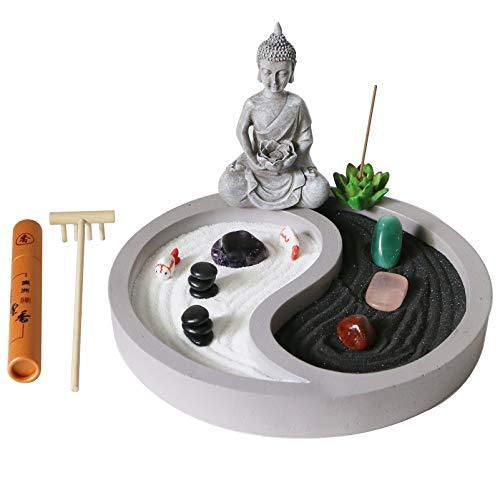 Mini Zen Garden kit for Desk - yin yang Crystal Sand Garden - with Zen...