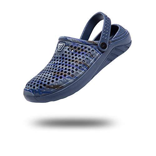 Zuecos Hombre Mujer Sanitarios Enfermera Zapatillas de Goma Casa Verano Chanclas Piscina Sandalias Playa Zapatos Plastico Jardín Ducha Azul-1 40 EU