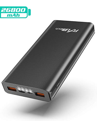 FLYLINKTECH Power Bank 26800mAh QC 3.0 Caricabatterie Portatile con USB-C PD, Alta capacità Batteria Esterna Carica Veloce per iPhone/iPad/MacBook/Samsung Galaxy/Huawei -Nero