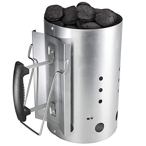 Denmay Kohle Anzündkamin, 7416 Grillkamin Anzünder, Brennstarter, Kohleanzünder mit Sicherheitsgriff aus Kunststoff und zweitem Klappgriff, Grillkohleanzünder Brennsäule, Grillkamin (19 Dia x 30 cm)