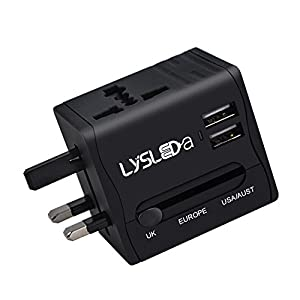 1) LYSLEDA Dual Port Travel Adapter, With 3 Type of Retractable Power Pins and AC85~264VAC Input Voltage, Could be Used in More Than 150 Countries or Areas, Such as US, EU, UK, AU. Allowing You to Charge Your Devices no Matter Where You are. 2) 2 Por...