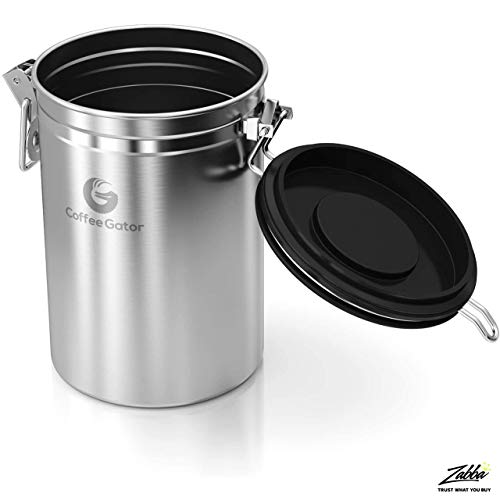 Product Image 3: Coffee Gator Stainless Steel Coffee Grounds and Beans Container Canister with Date-Tracker, CO2-Release Valve and Measuring Scoop, Large, Silver