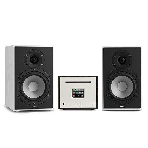 Numan Unison Reference 802 Edition - All-in-One Stereoanlage, CD-Player, Spotify Connect, Bluetooth, Internet-, DAB+ und UKW-Radio, inkl. 2 x 16,5 cm (6,5')-Tieftonlautsprecher, weiß