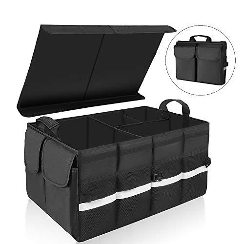 KEAFOLS Kofferraumtasche Auto Kofferraum Organizer mit Klettverschluss Deckel Universal Faltbare Autotasche Aufbewahrungstasche Auto Kofferraum Box für Auto MEHRWEG
